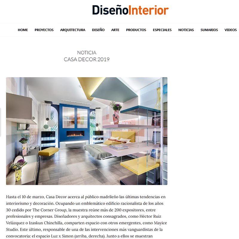 DISEÑO INTERIOR. NOTICIA CASA DECOR 2019