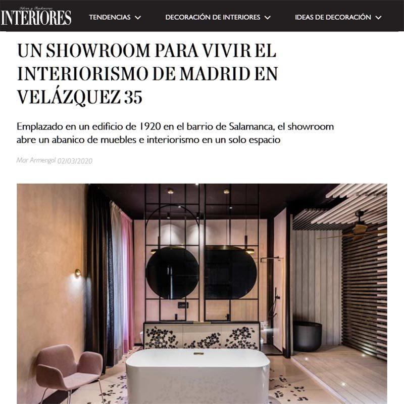 INTERIORES. Un showroom para vivir el interiorismo de Madrid en Velázquez 35