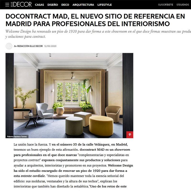ELLEDECOR. Docontract MAD, el nuevo sitio de referencia en Madrid para profesionales del interiorismo