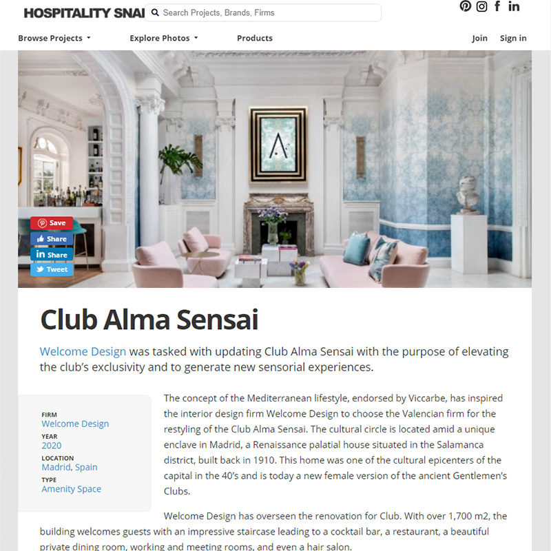 HOSPITALITY SNAPSHOTS. Club Alma Sensai