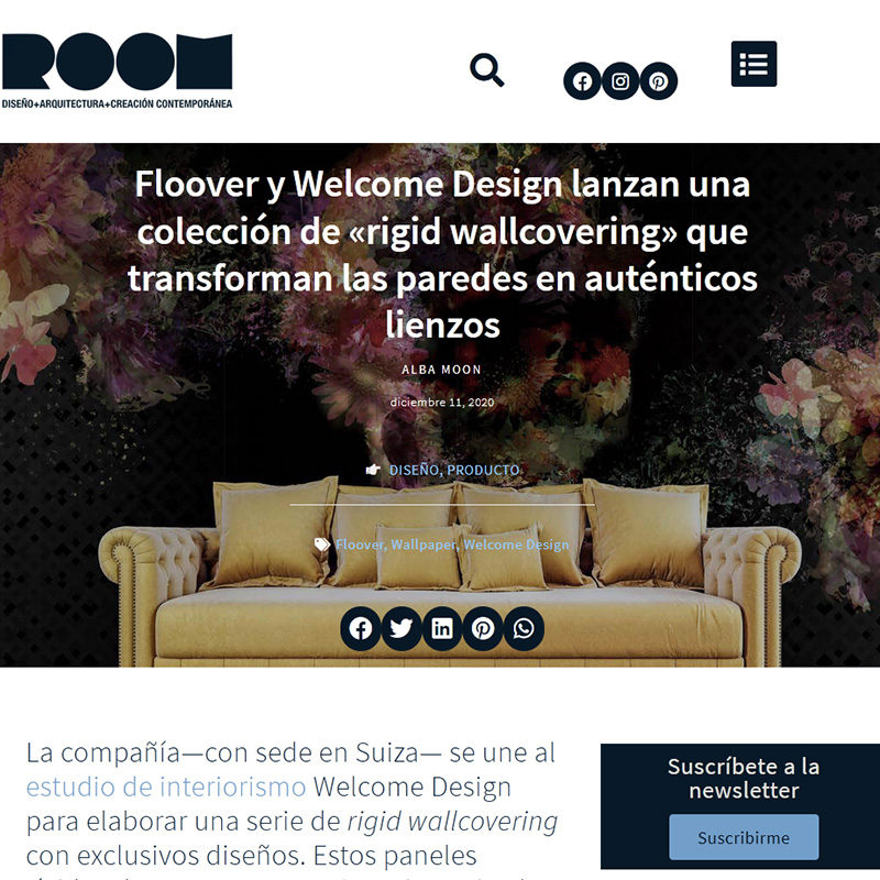 ROOM DISEÑO. Floover y Welcome Design lanzan una colección de «rigid wallcovering» que transforman las paredes en auténticos lienzos